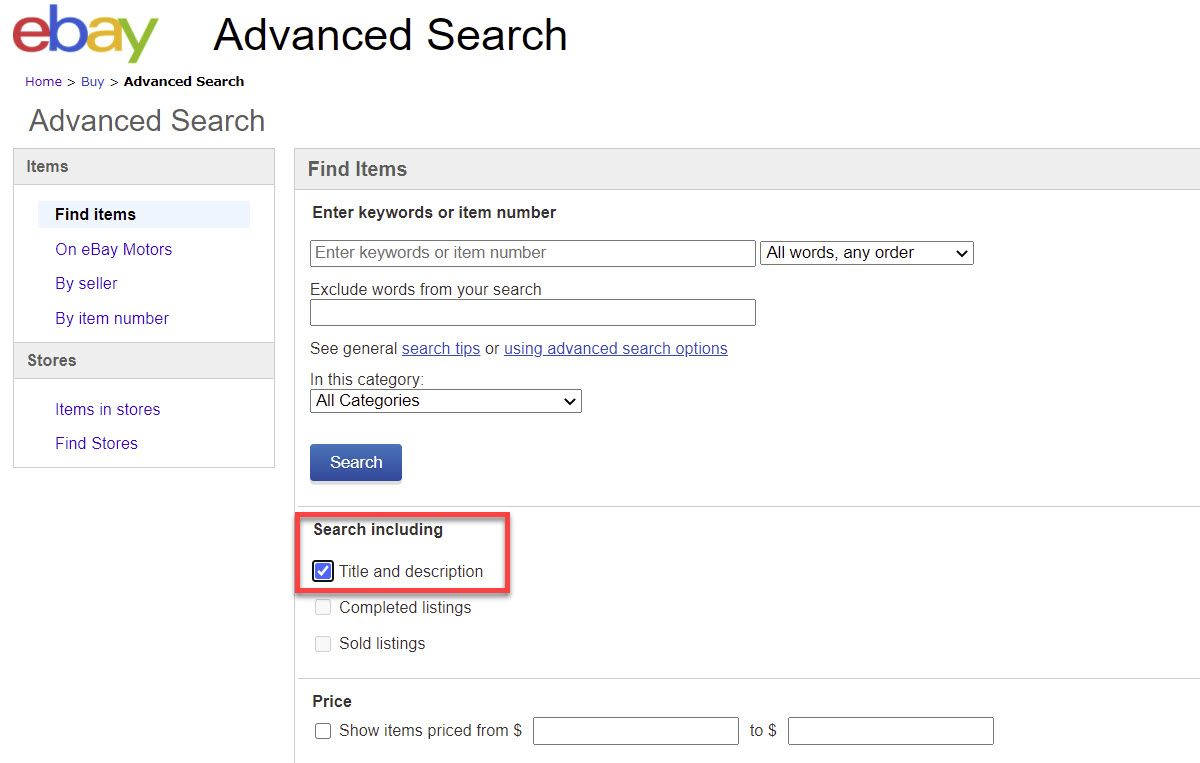 eBay Advanced Search Title and Description