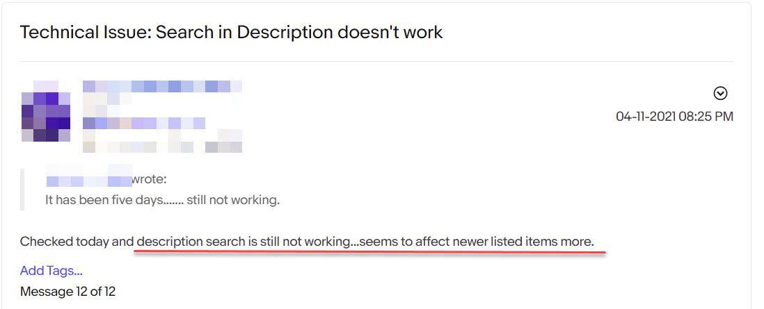 eBay Search Description Not Working